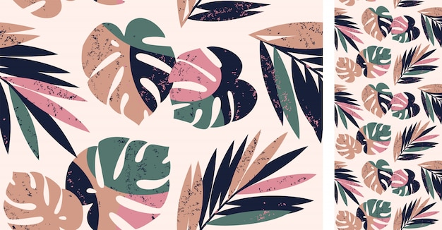 Seamless tropical pattern with monstera and palm leaves Premium Vector