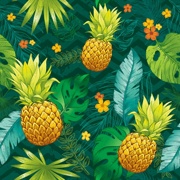 seamless tropical pattern with sketch leaf pineapple fruits flowers trendy fashion wallpaper background 144101 341