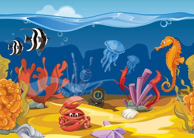漫画スタイルのシームレスな水中風景。海と海、魚とサンゴ。ベクトルイラスト 無料ベクター