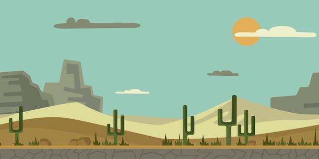 アーケードゲームまたはアニメーションのシームレスな終わりのない背景。サボテン、石、山を背景に砂漠の風景。イラスト、視差準備完了。 Premiumベクター