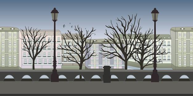アーケードゲームまたはアニメーションのシームレスな終わりのない背景。建物、木、街灯のあるヨーロッパの街。イラスト、視差準備完了。 Premiumベクター