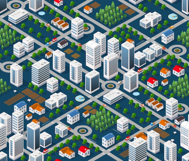Seamless urban plan Premium Vector
