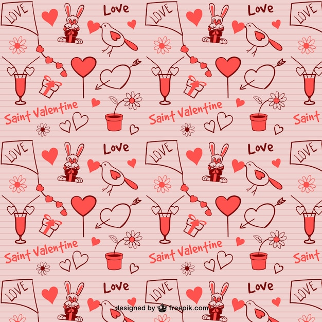 Seamless Valentine pattern Vector | Free Download