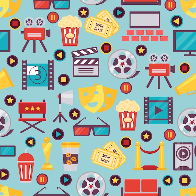 Seamless various film and cinema graphics on light blue for background design Free Vector