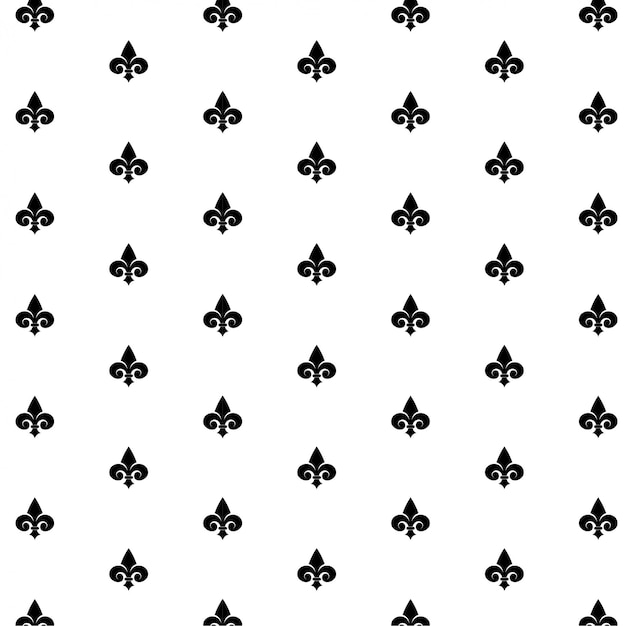 Seamless vector black pattern with fleur-de-lis on white Premium Vector