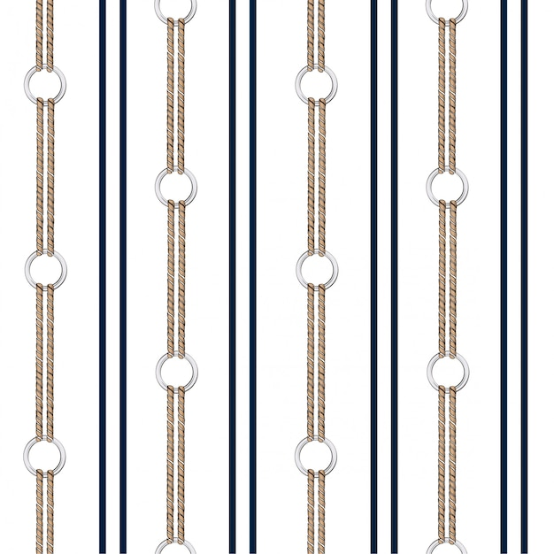 Seamless vector pattern background with hand drawn chain, and summer nautical rope in vertical stripe design Premium Vector