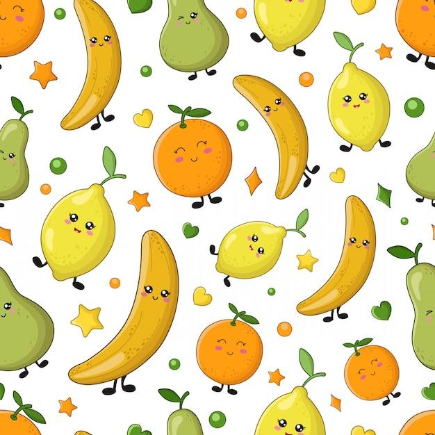 Seamless vector pattern - lemon, orange, banana Premium Vector