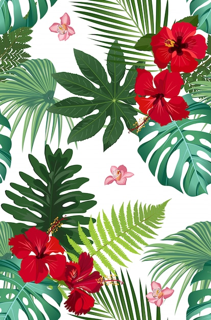 Seamless vector pattern tropical leaves with red hibiscus flower and pink orchid Premium Vector