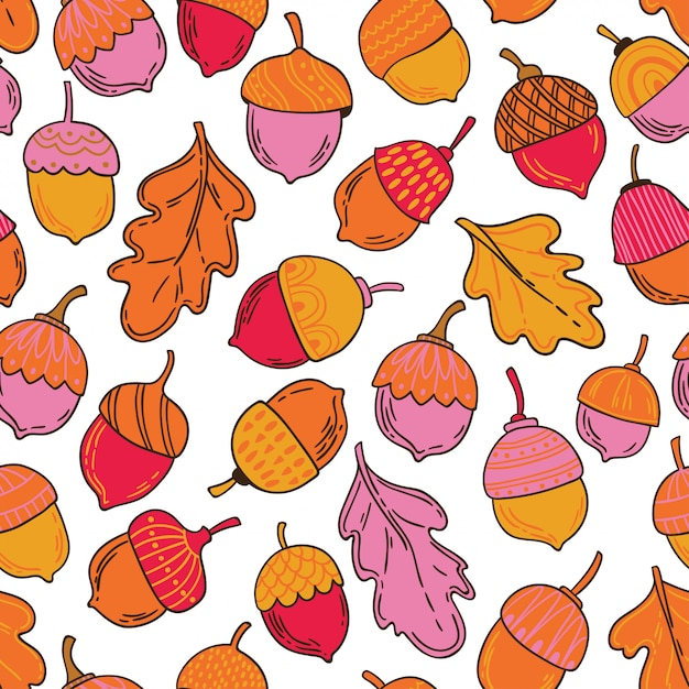 Seamless vector pattern with acorns and leaves Premium Vector