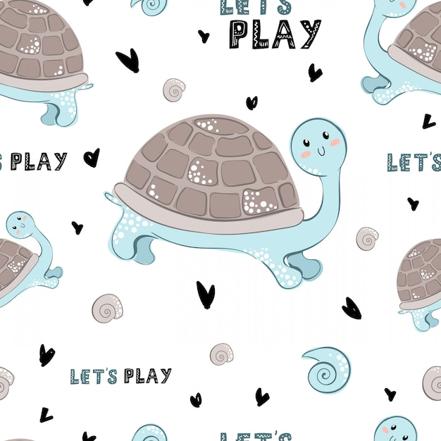 Seamless vector pattern with cartoon turtle and lettering Premium Vector