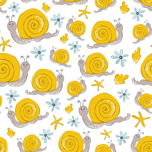 Seamless vector pattern with cartoon yellow snail on white Premium Vector