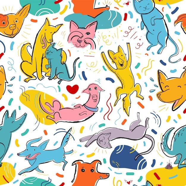Бесшовные векторные шаблон с милыми цветными кошками и собаками в разных позах и эмоциях, лучшие друзья Premium векторы