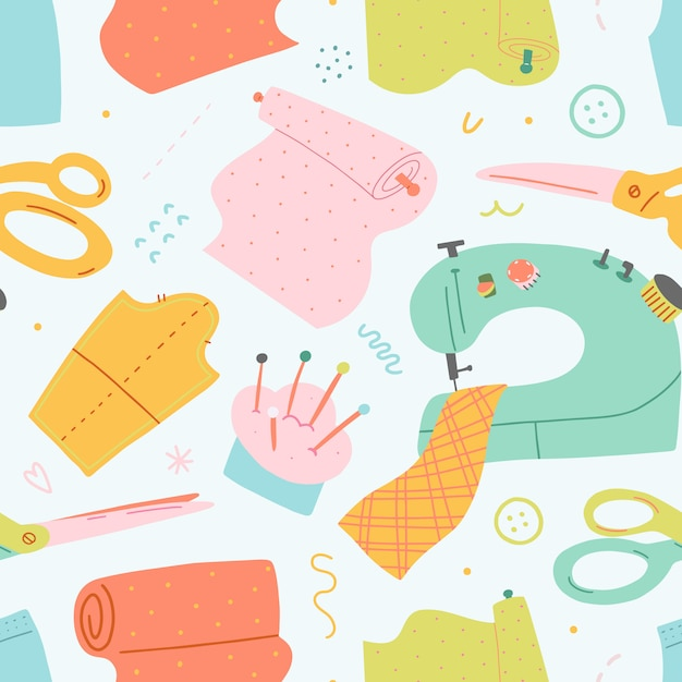 Seamless vector pattern with illustrations of sewing tools Premium Vector