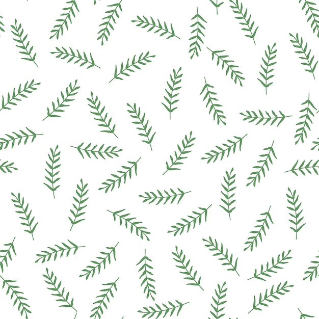 Seamless vector pattern with leaves and branch. Premium Vector