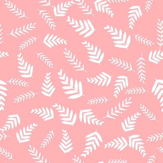 Seamless vector pattern with leaves and branch Premium Vector