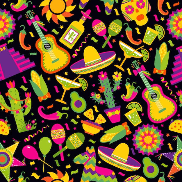 Seamless vector pattern with mexican elements - guitar, sombrero, tequila, taco, skull on black. Premium Vector