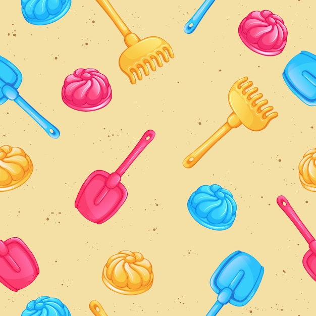 Seamless vector pattern with sand toys. Premium Vector