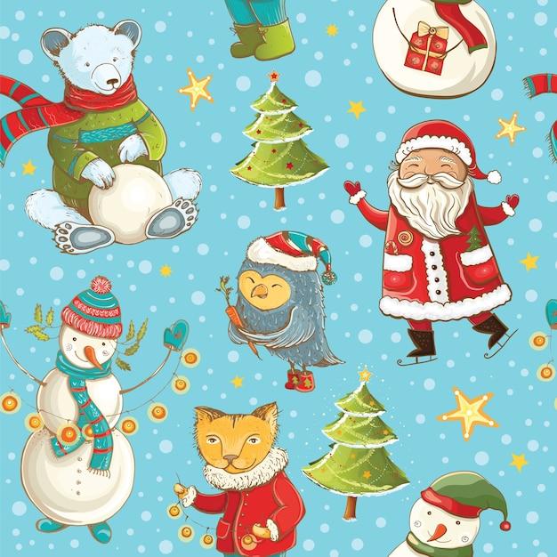 산타 클로스, 눈사람, 크리스마스 트리와 귀여운 동물과 원활한 벡터 패턴입니다. Tileable 만화 크리스마스 배경입니다. 프리미엄 벡터