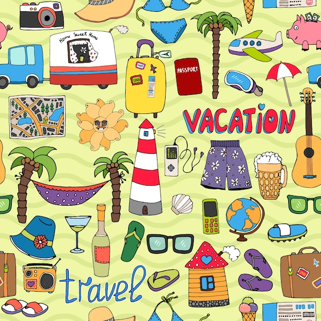Seamless vector tropical vacation and travel pattern with colorful icons depicting swimsuits lighthouse  hammock  palms  sunglasses  caravan  map  beer  wine  piggy bank  clothing Free Vector