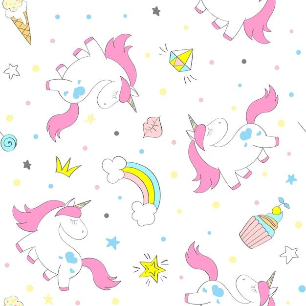 Seamless vector unicorn pattern for kids textile, prints, wallpapper, sccrapbooking. Premium Vector