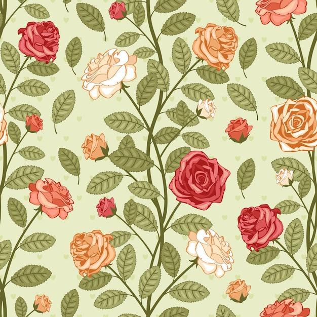 Carta da parati vintage modello vettoriale senza soluzione di continuità con le rose. vittoriano bouquet di fiori colorati su sfondo verde Vettore gratuito