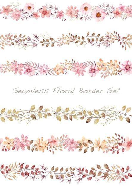 白に設定されたシームレスなベクトル水彩花ボーダー 無料ベクター