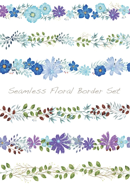 Seamless vector watercolor floral border set on a white Free Vector