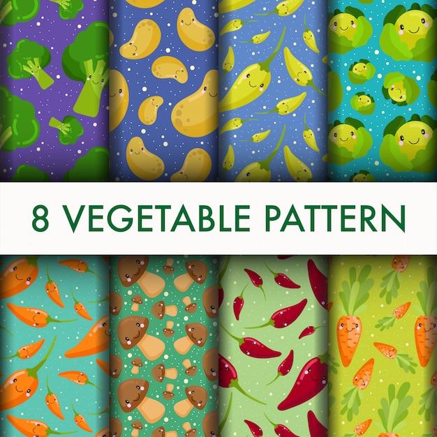 Seamless vegetable pattern set. Free Vector