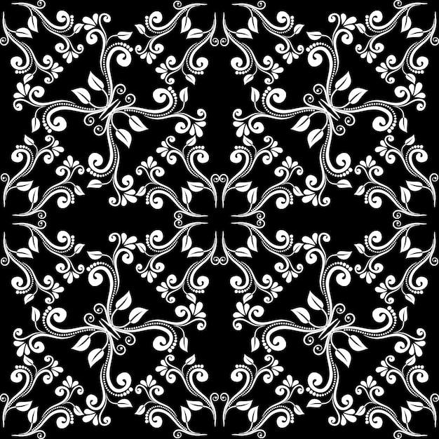 シームレスなヴィンテージバロックパターン。黒の背景に白い葉からの装飾 無料ベクター