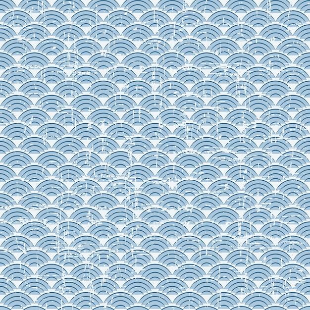 완벽 한 빈티지 블루 일본식 생선 비늘 패턴 프리미엄 벡터