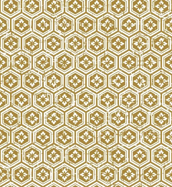 완벽 한 빈티지 일본식 황금 다각형 꽃 패턴 프리미엄 벡터