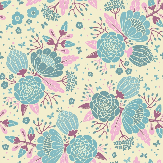 Seamless vintage pattern with decorative flowers. Premium Vector
