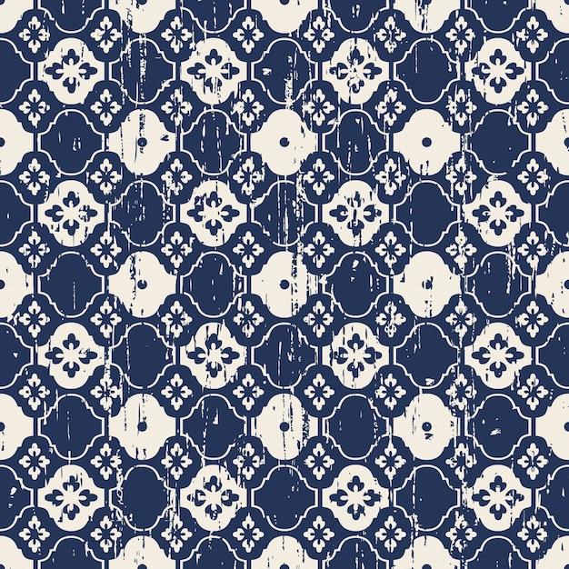 완벽 한 빈티지 닳아 파란 꽃 트레이 서 리 패턴 프리미엄 벡터