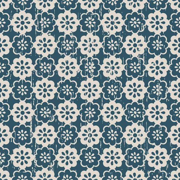 완벽 한 빈티지 닳아 귀여운 꽃 패턴 프리미엄 벡터