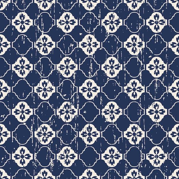 완벽 한 빈티지 닳아 꽃 패턴 프리미엄 벡터