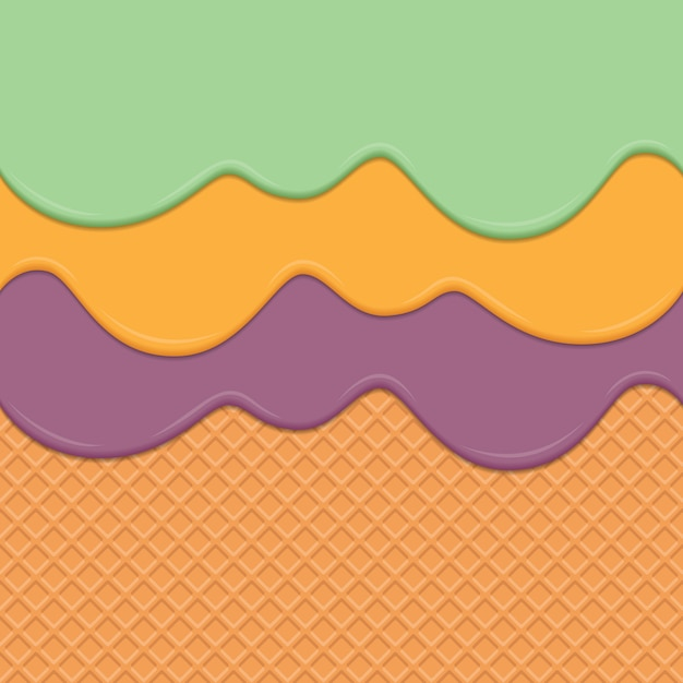 Seamless wafer and dripping cream repeatable vector art background Premium Vector