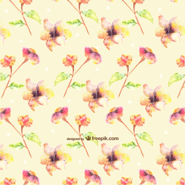 Seamless watercolor flowers design Free Vector