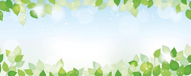Бесшовные акварель свежий зеленый фон с пространством для текста, векторные иллюстрации. экологически безопасное изображение с растениями, голубым небом и солнечным светом. горизонтально повторяемый. Premium векторы