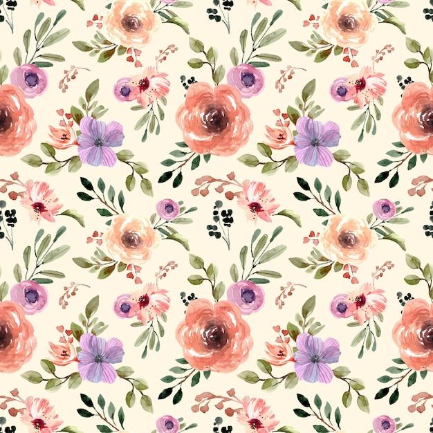 크림 파스텔 Florals와 노란색 배경으로 원활한 수채화 패턴 프리미엄 벡터