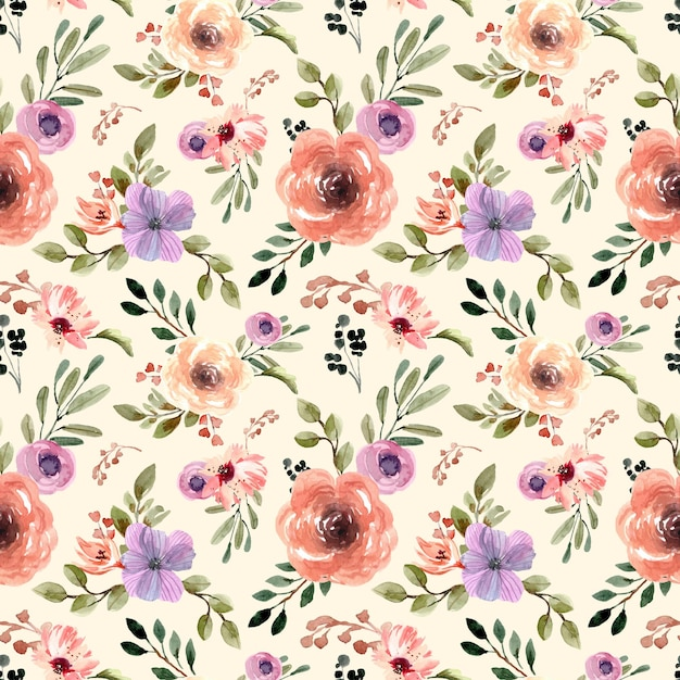 Seamless watercolor pattern with cream pastel florals and yellow background Premium Vector