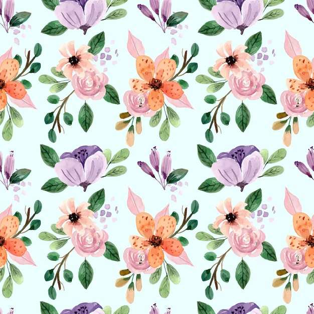Seamless watercolor pattern with pink roses and peonies Premium Vector