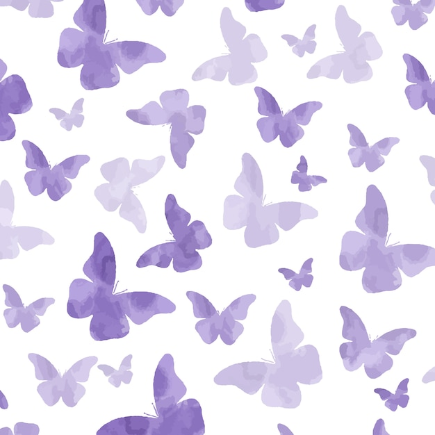 Бесшовный узор из пурпурных бабочек Premium векторы
