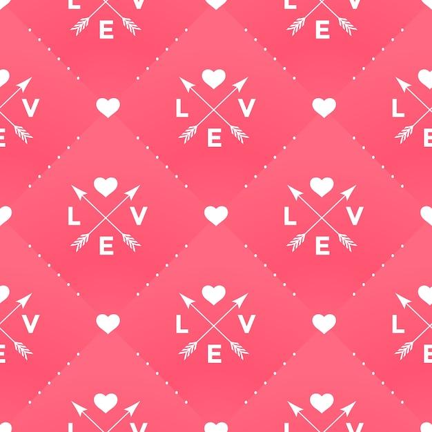 Безшовная белая картина с влюбленностью, сердцем и стрелкой в винтажном стиле на красной предпосылке на день валентинки. иллюстрации. Premium векторы