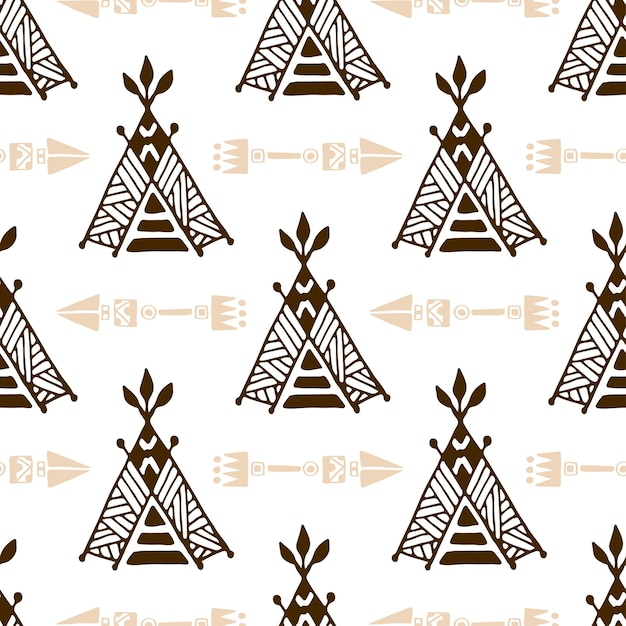 Seamless wigwam pattern with arrows. Native american tent pattern. Premium Vector  sc 1 st  Freepik & Seamless wigwam pattern with arrows. Native american tent pattern ...