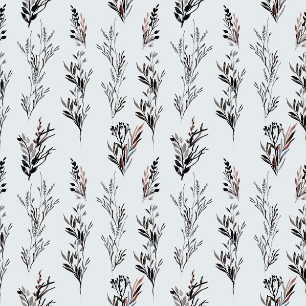 Seamless wild floral black watercolor pattern Premium Vector