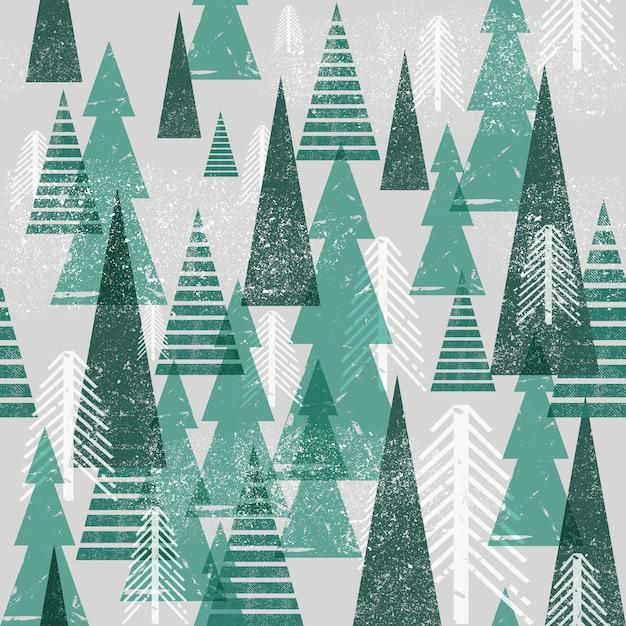 Seamless  winter forest pattern. Premium Vector