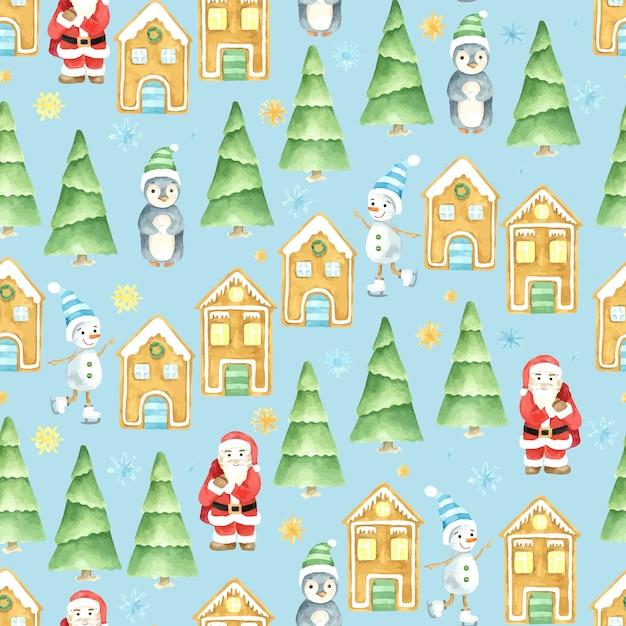 シームレスな冬のパターン。クリスマスの水彩画。手描きのサンタクロース、雪だるま、ペンギン、ジンジャーブレッドハウス。 Premiumベクター
