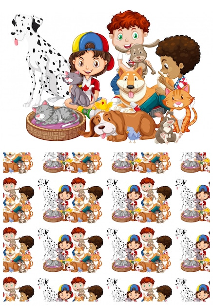 Seamless with children and pets Free Vector