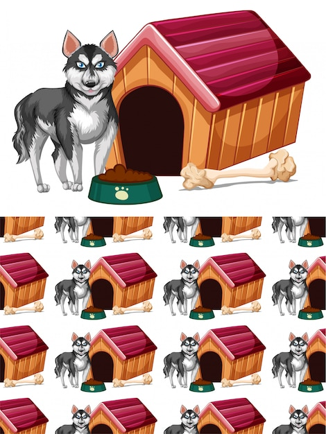 Seamless  with dog and doghouse Free Vector