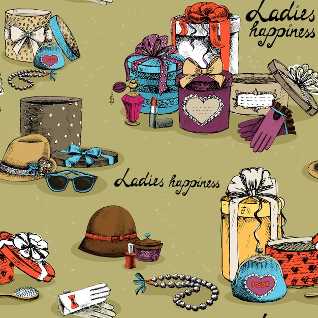 Seamless woman accessory with gift boxes Free Vector
